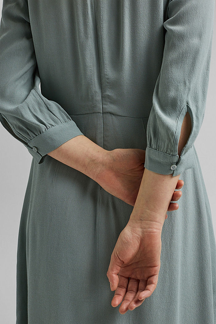 Crêpe midi dress containing LENZING™ ECOVERO™, TURQUOISE, detail image number 3