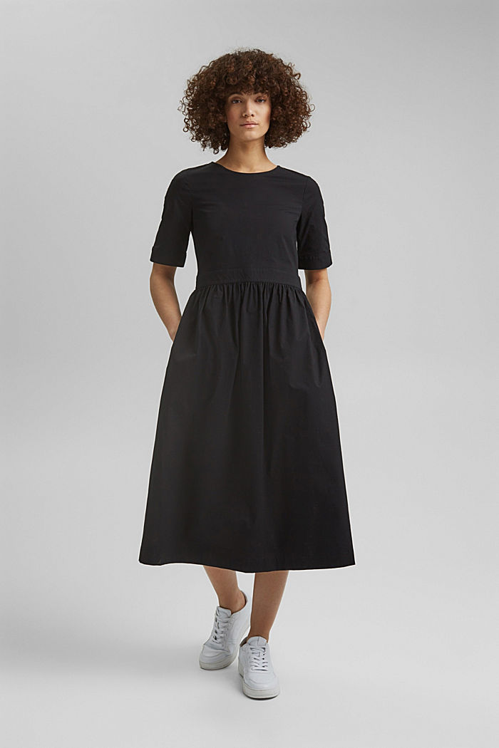 Poplin midi dress, BLACK, detail image number 0