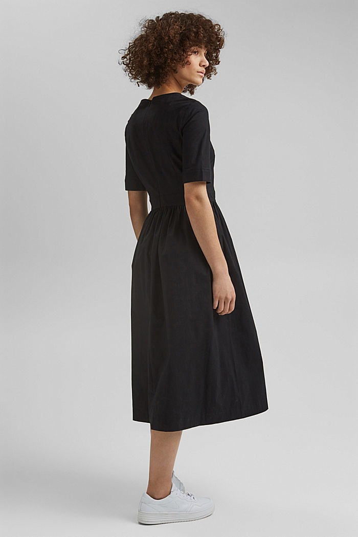 Poplin midi dress, BLACK, detail image number 2