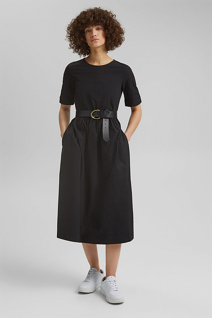 Poplin midi dress, BLACK, detail image number 1