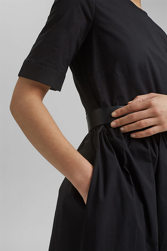 Midi-Kleid aus Popeline, BLACK, detail image number 3