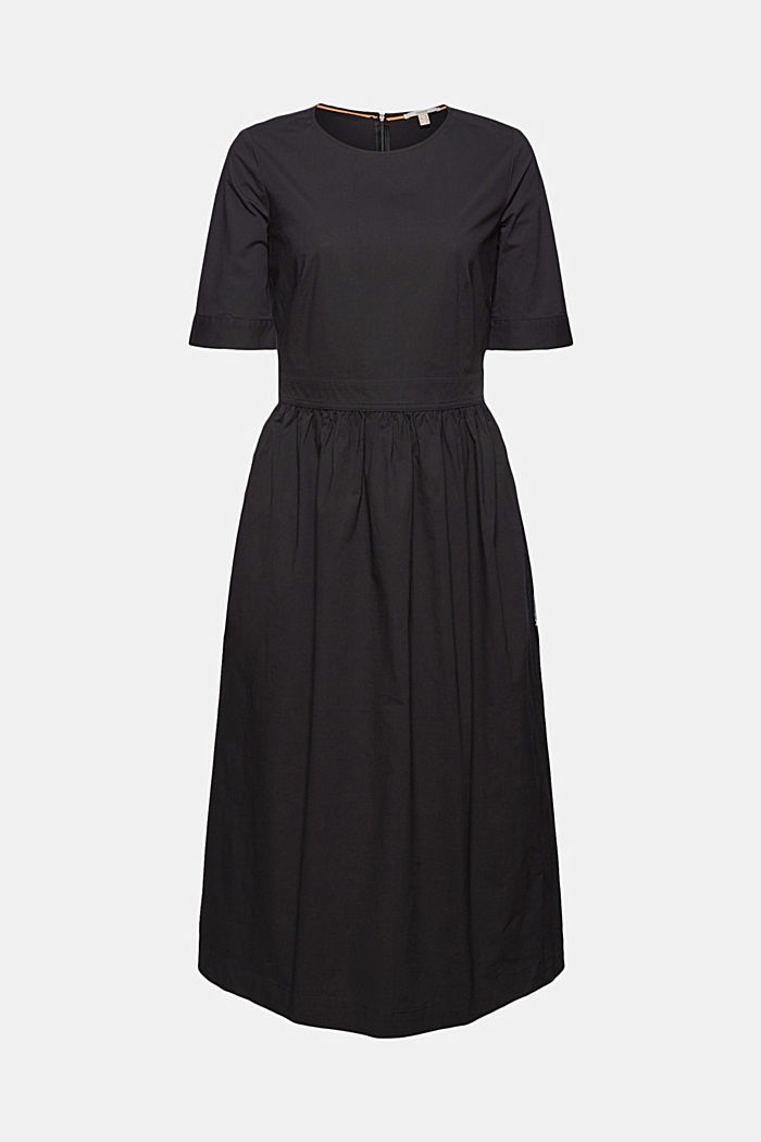 Poplin midi dress, BLACK, detail image number 5