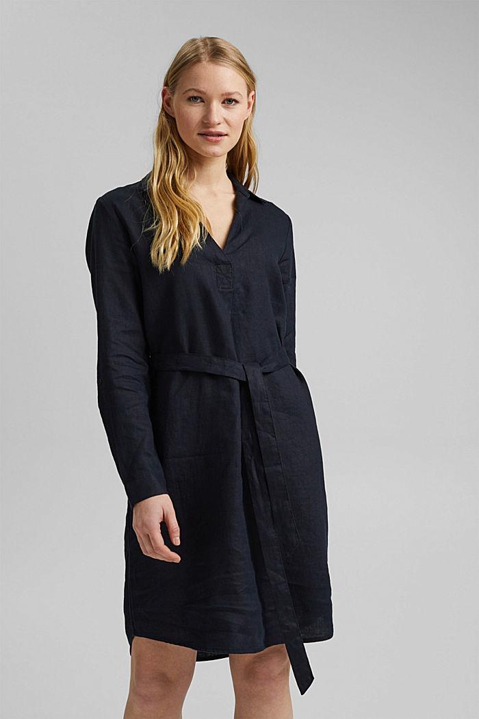 Made of linen: shirt dress with a belt, BLACK, detail image number 0