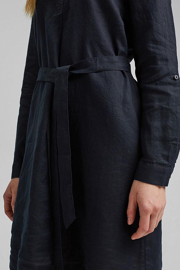 Made of linen: shirt dress with a belt, BLACK, detail image number 3