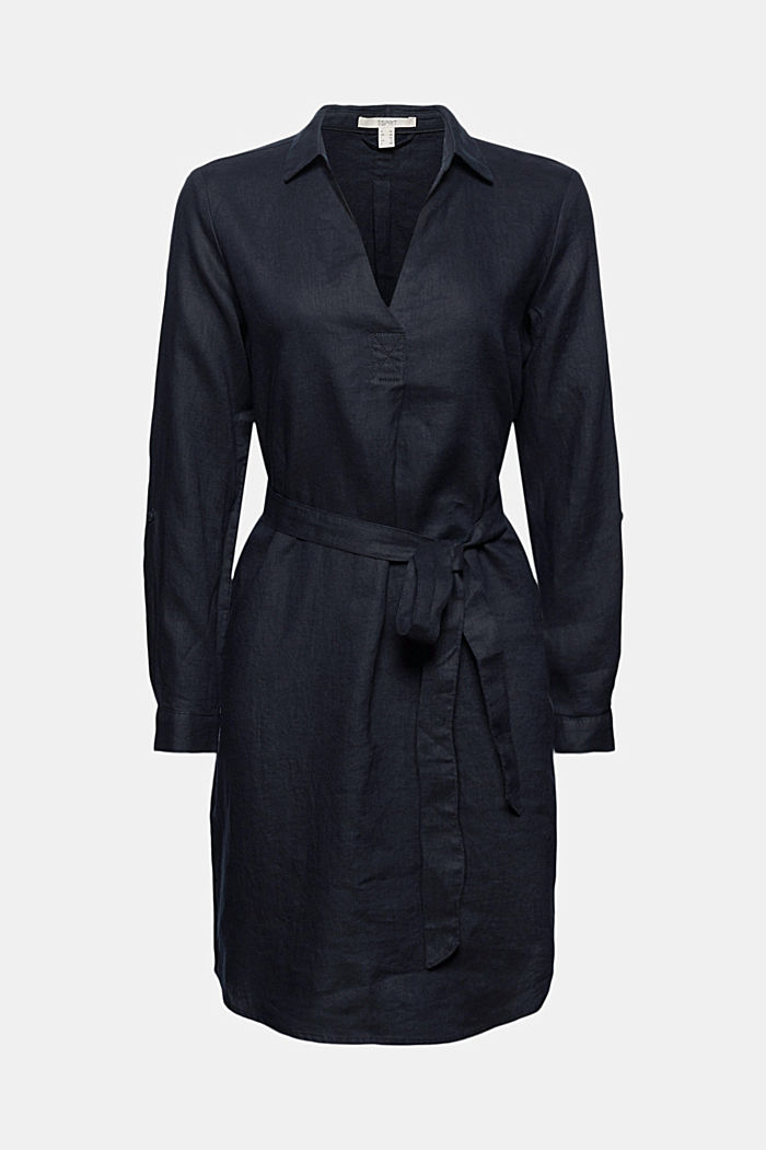 Made of linen: shirt dress with a belt