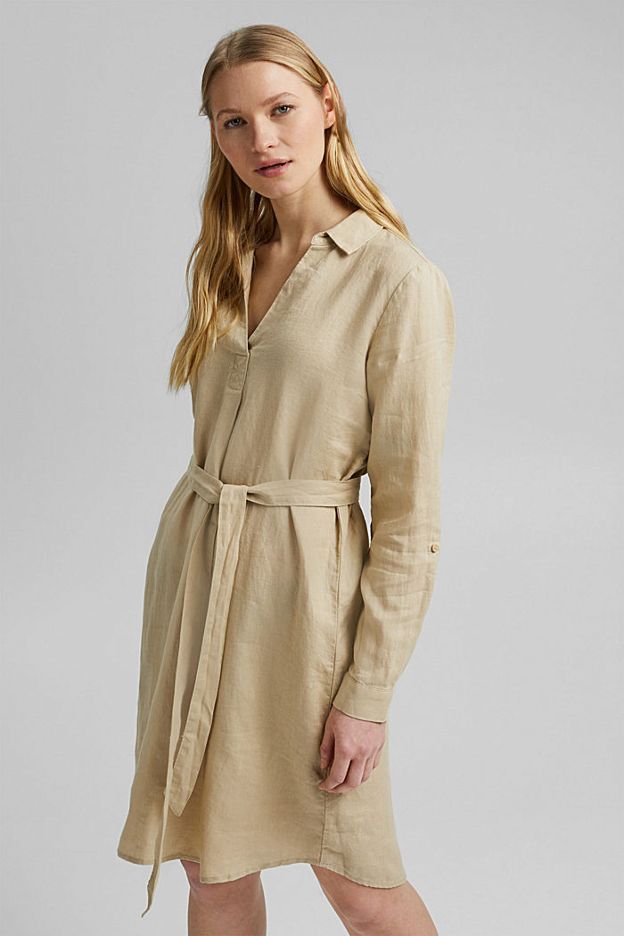 Made of linen: shirt dress with a belt, SAND, detail image number 0