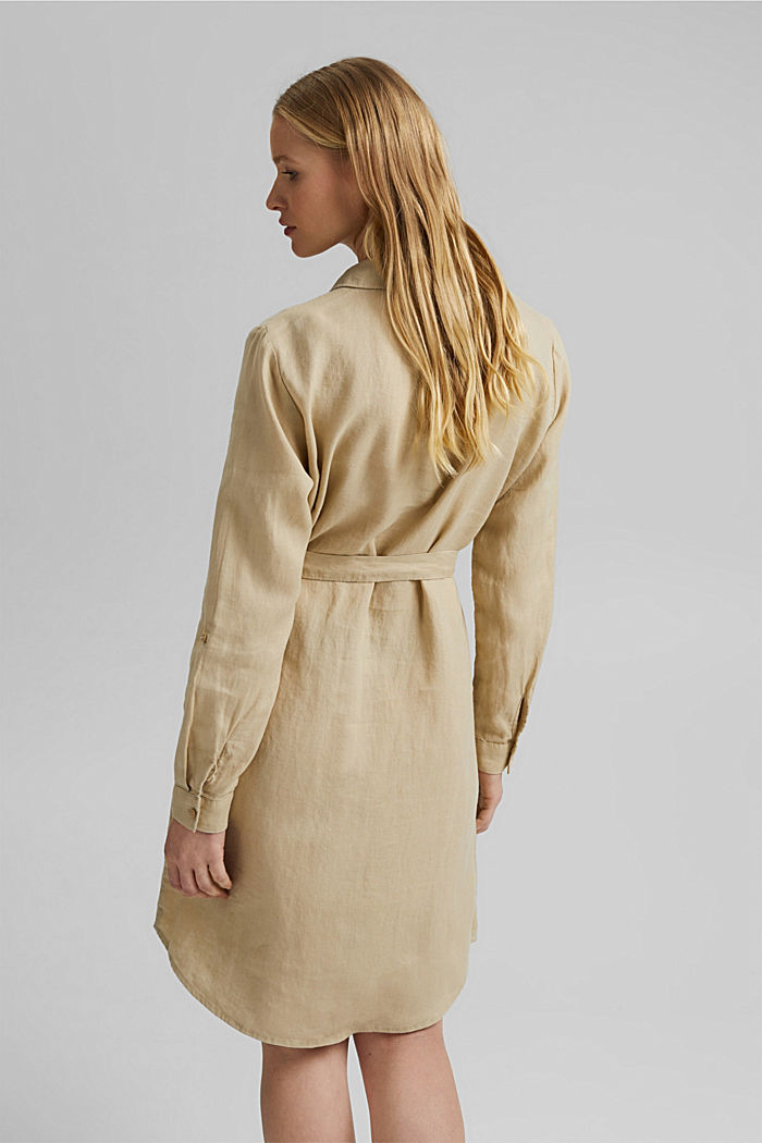 Made of linen: shirt dress with a belt, SAND, detail image number 2