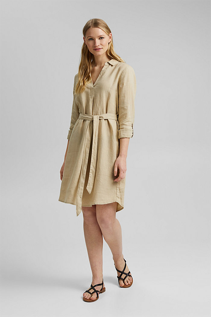 Made of linen: shirt dress with a belt, SAND, detail image number 5
