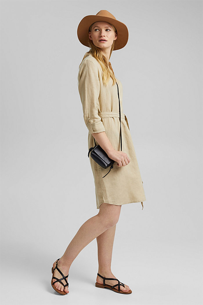 Made of linen: shirt dress with a belt, SAND, detail image number 1