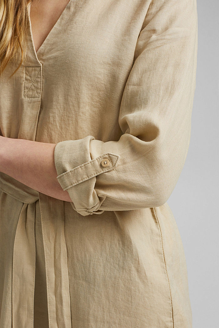 Made of linen: shirt dress with a belt, SAND, detail image number 3