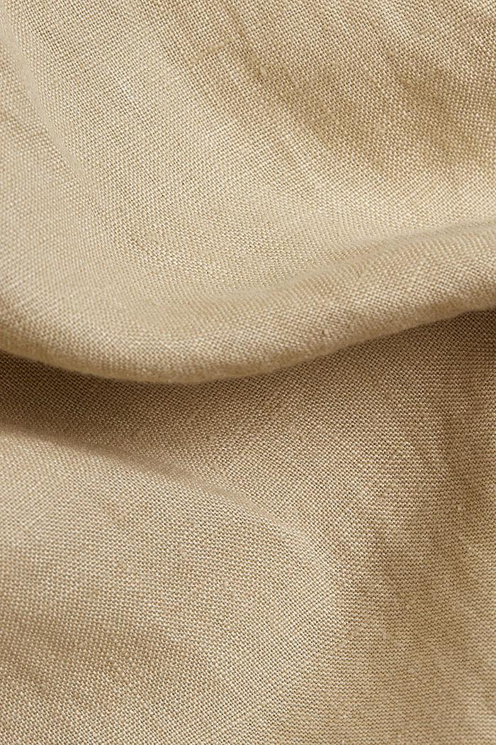 Aus Leinen: Hemdblusenkleid mit Gürtel, SAND, detail image number 4