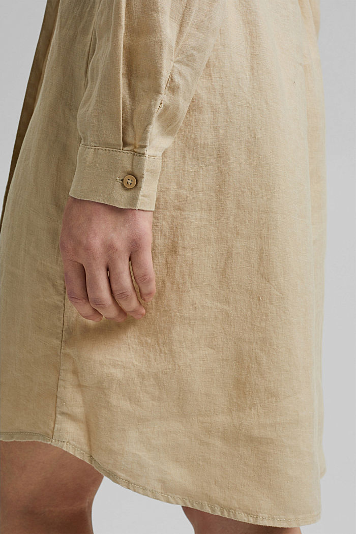 Made of linen: shirt dress with a belt, SAND, detail image number 6