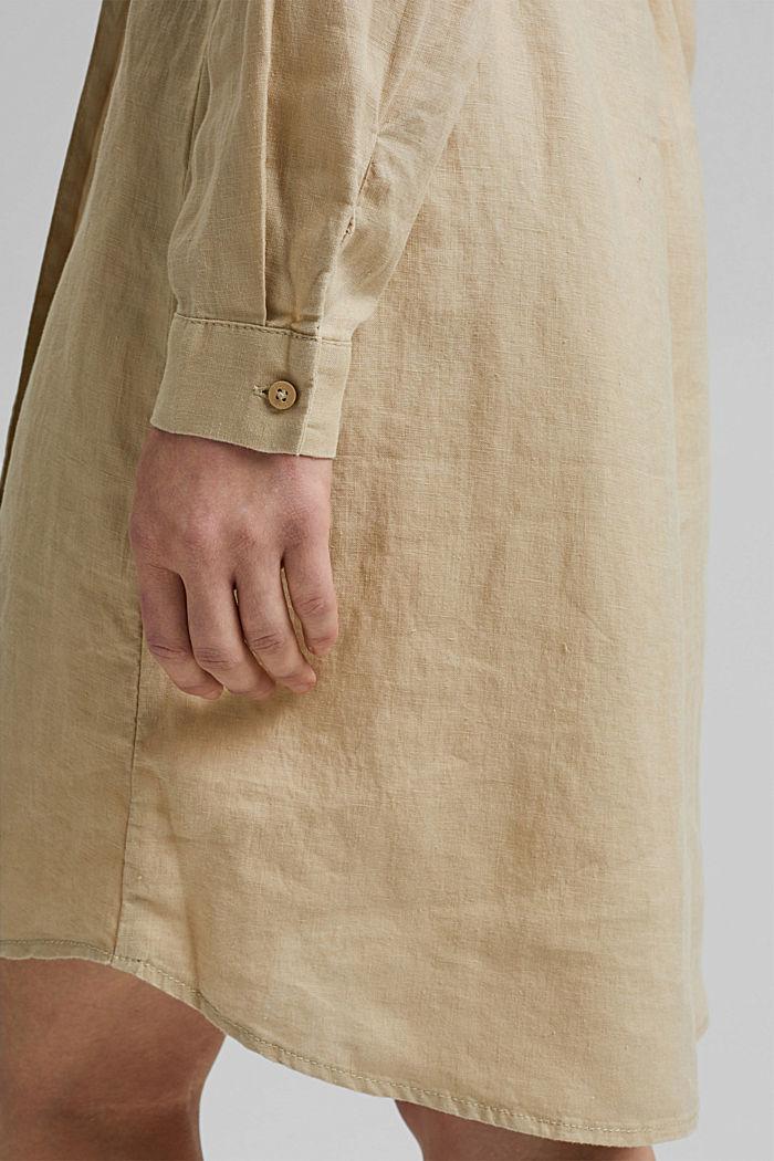 Aus Leinen: Hemdblusenkleid mit Gürtel, SAND, detail image number 6