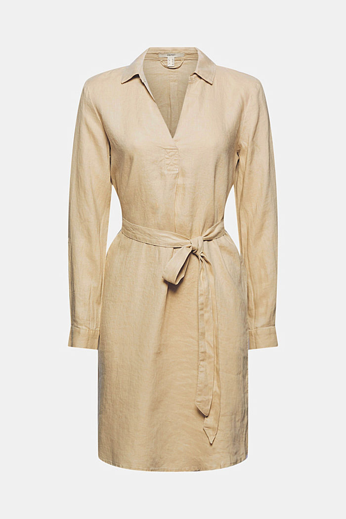 Made of linen: shirt dress with a belt, SAND, detail image number 7