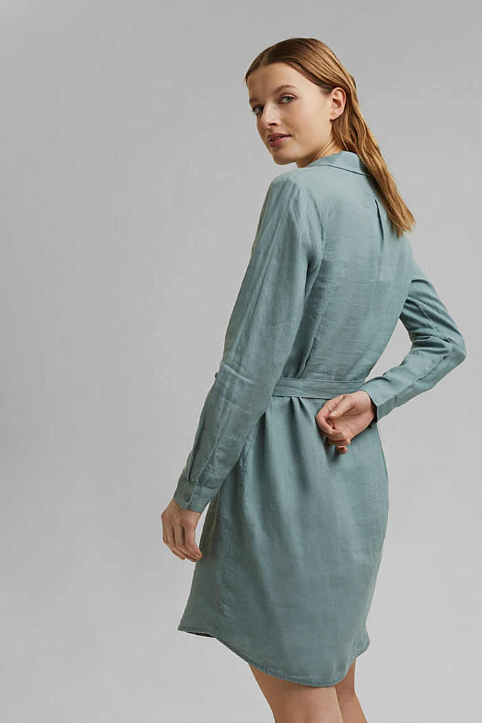 Made of linen: shirt dress with a belt, TURQUOISE, detail image number 2