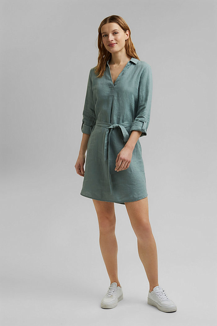 Made of linen: shirt dress with a belt, TURQUOISE, detail image number 1