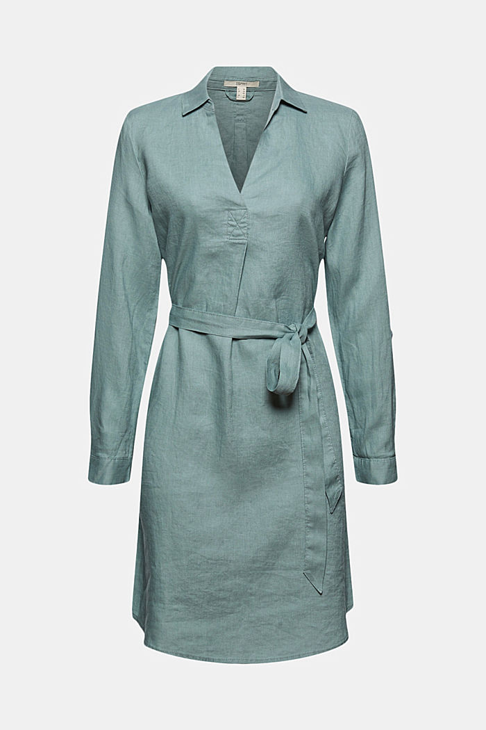 Made of linen: shirt dress with a belt, TURQUOISE, detail image number 6