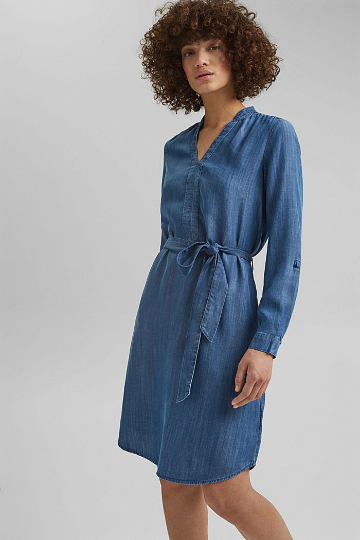 Aus TENCEL™: Kleid im Denim-Look, BLUE MEDIUM WASHED, detail image number 0