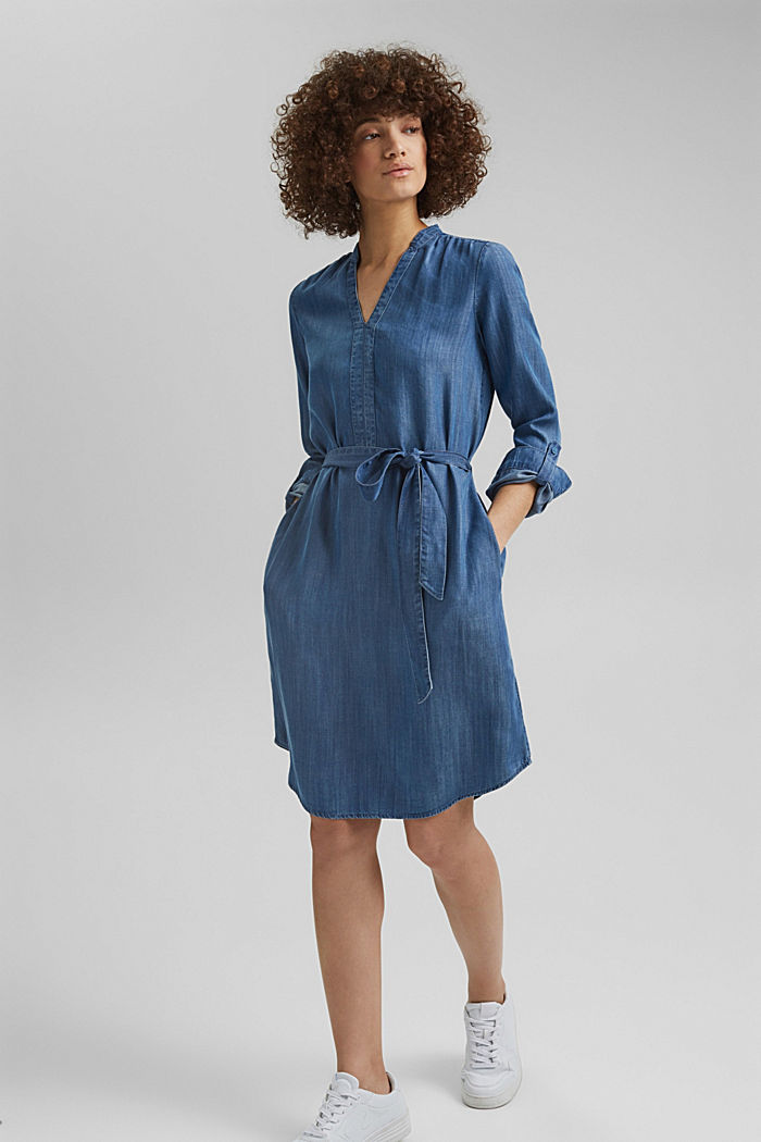 Aus TENCEL™: Kleid im Denim-Look, BLUE MEDIUM WASHED, detail image number 1