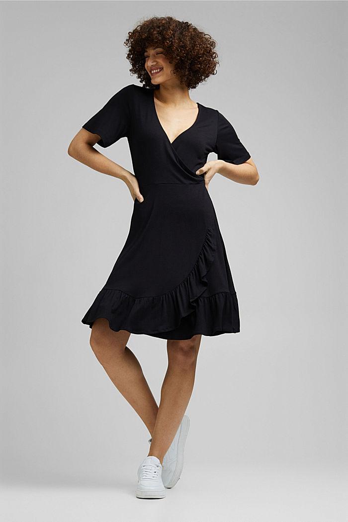 Jersey jurk van LENZING™ ECOVERO™, BLACK, detail image number 0