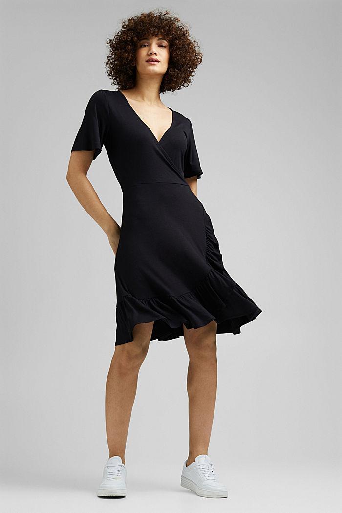 Jersey jurk van LENZING™ ECOVERO™, BLACK, detail image number 1