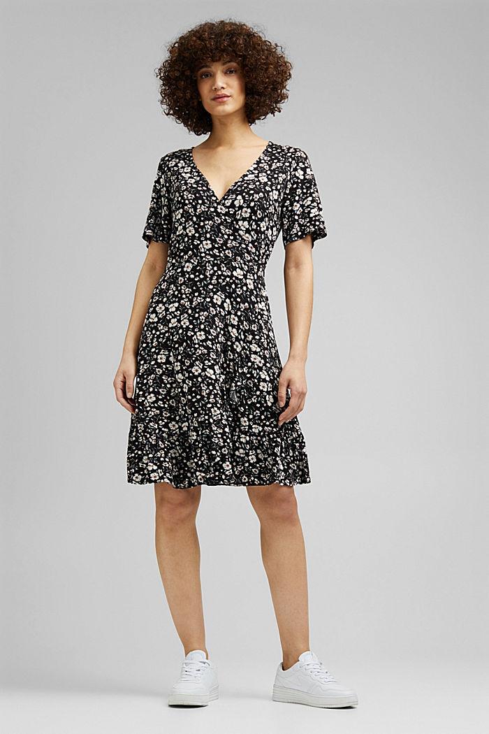 Mille-fleurs dress made of LENZING™ ECOVERO™, BLACK, detail image number 0