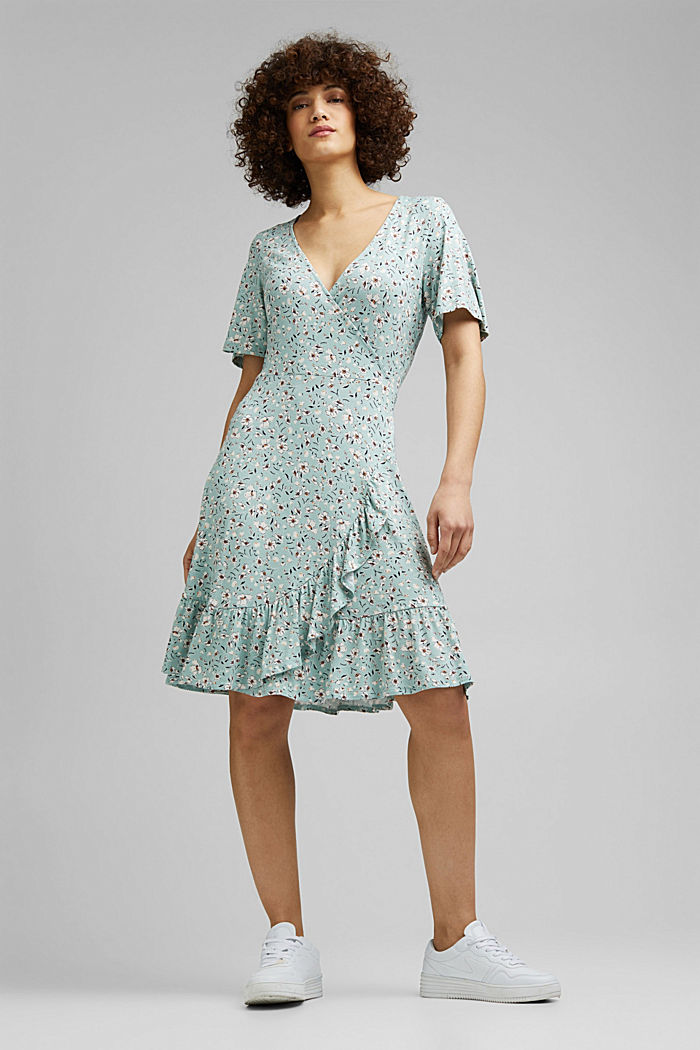 Millefleurs-Kleid aus LENZING™ ECOVERO™, LIGHT AQUA GREEN, detail image number 1