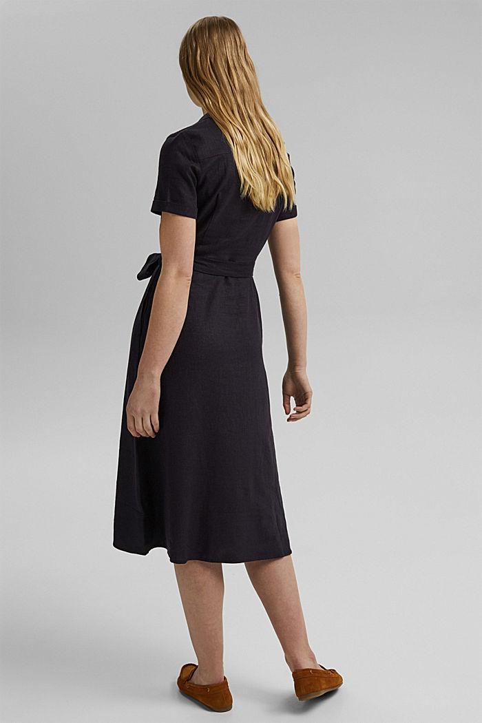 Linen blend: shirt dress with a belt, BLACK, detail image number 2