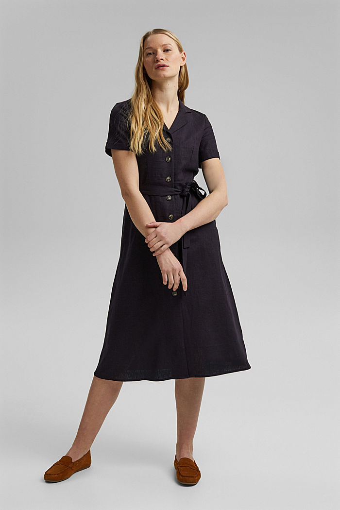 Linen blend: shirt dress with a belt, BLACK, detail image number 1