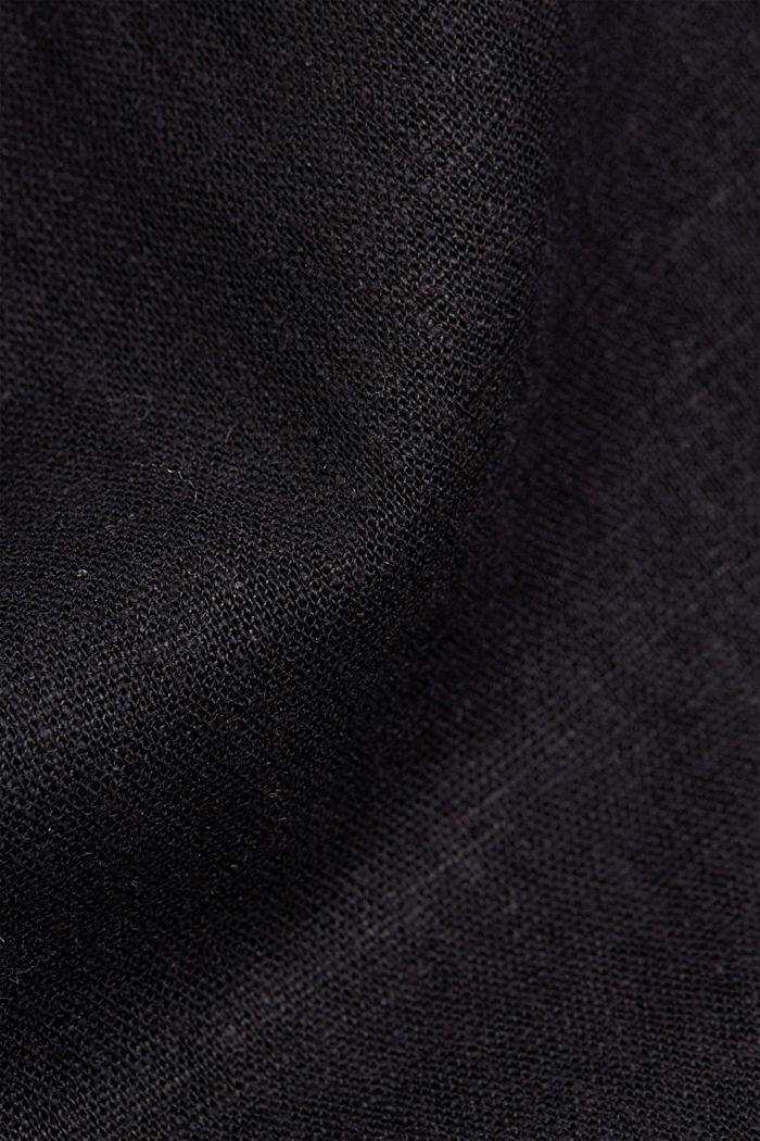Linen blend: shirt dress with a belt, BLACK, detail image number 4