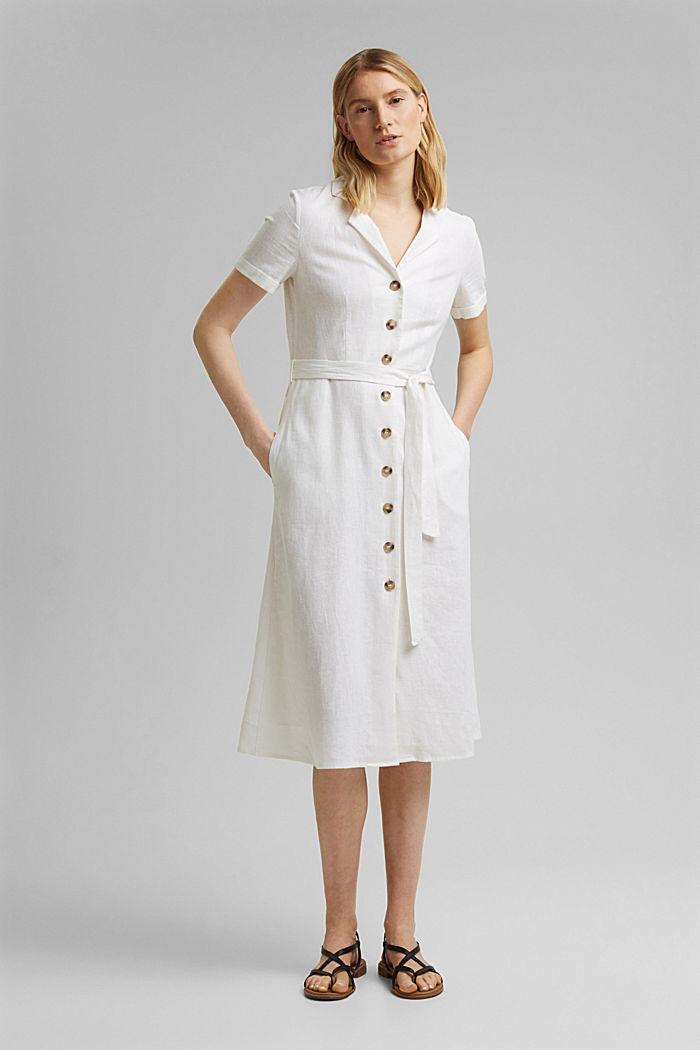 Mit Leinen: Hemdblusen-Kleid mit Gürtel, WHITE, detail image number 0