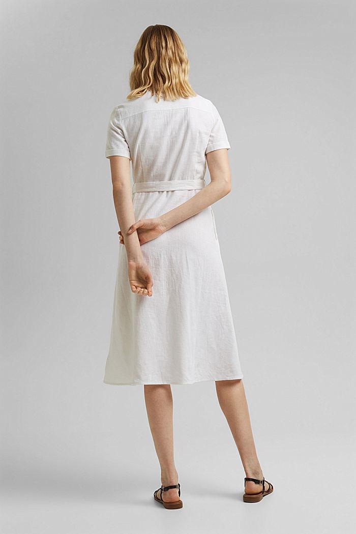 Mit Leinen: Hemdblusen-Kleid mit Gürtel, WHITE, detail image number 2