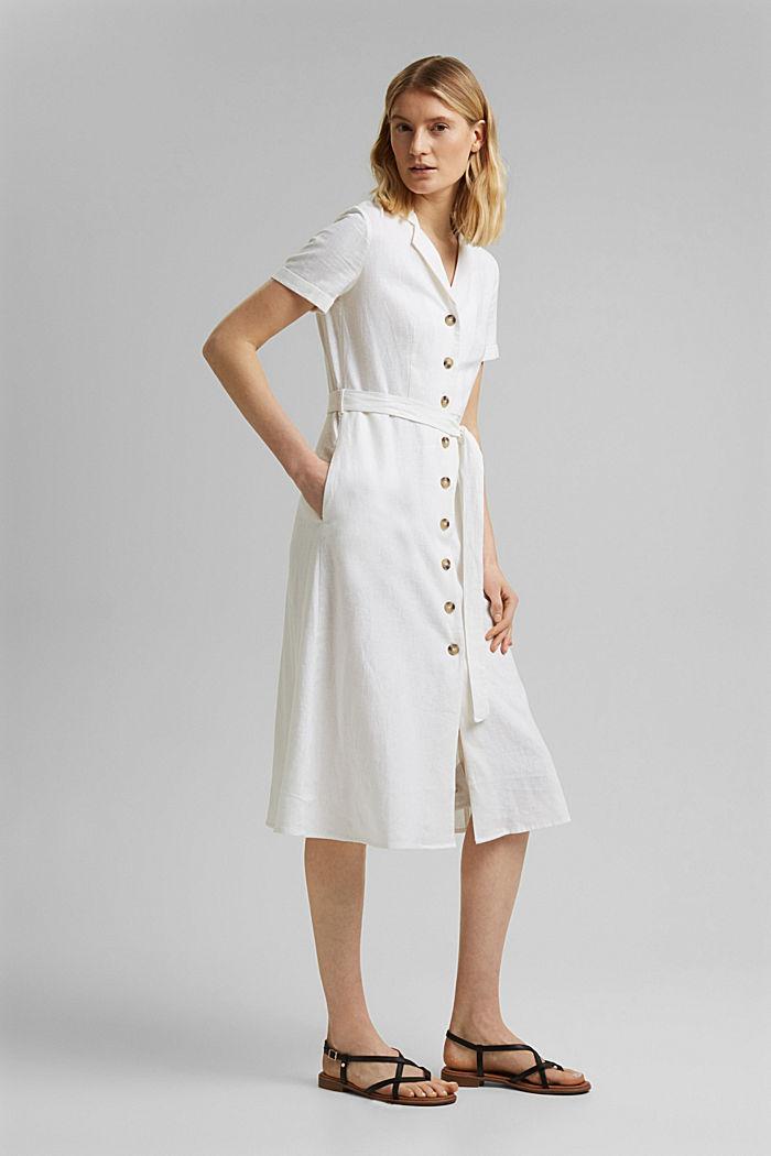 Mit Leinen: Hemdblusen-Kleid mit Gürtel, WHITE, detail image number 1