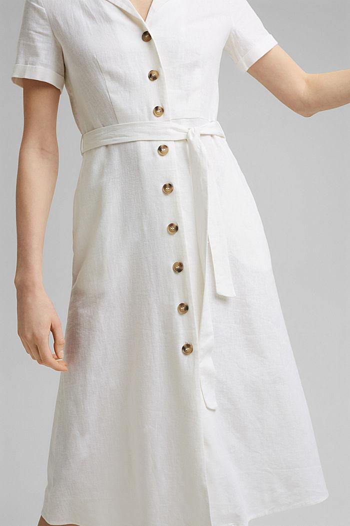 Mit Leinen: Hemdblusen-Kleid mit Gürtel, WHITE, detail image number 3