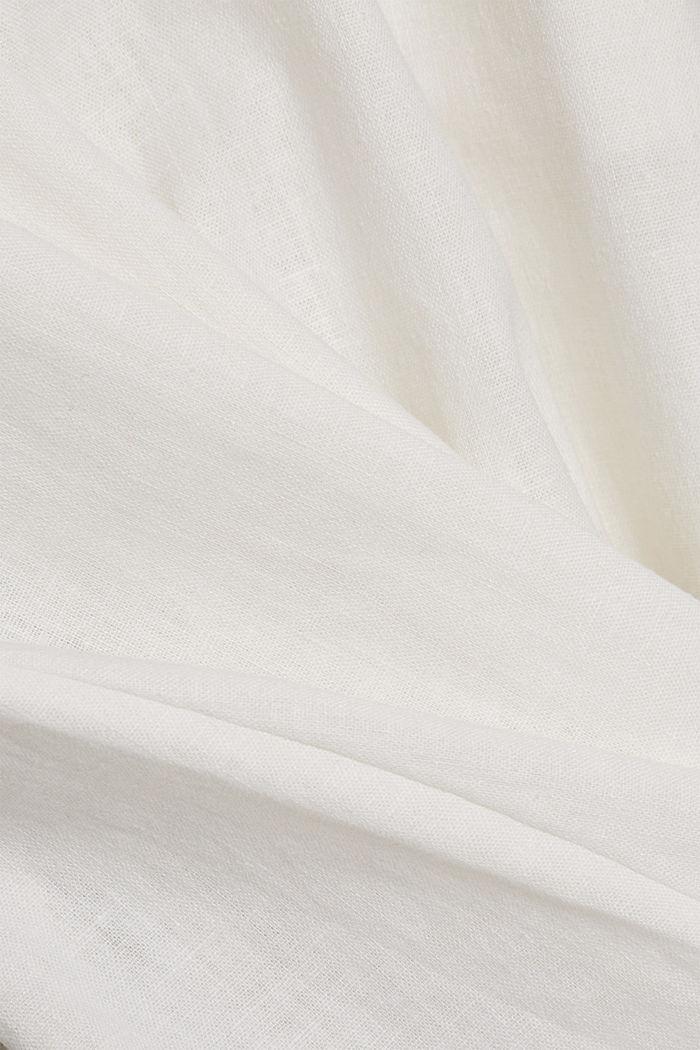 Linen blend: shirt dress with a belt, WHITE, detail image number 4