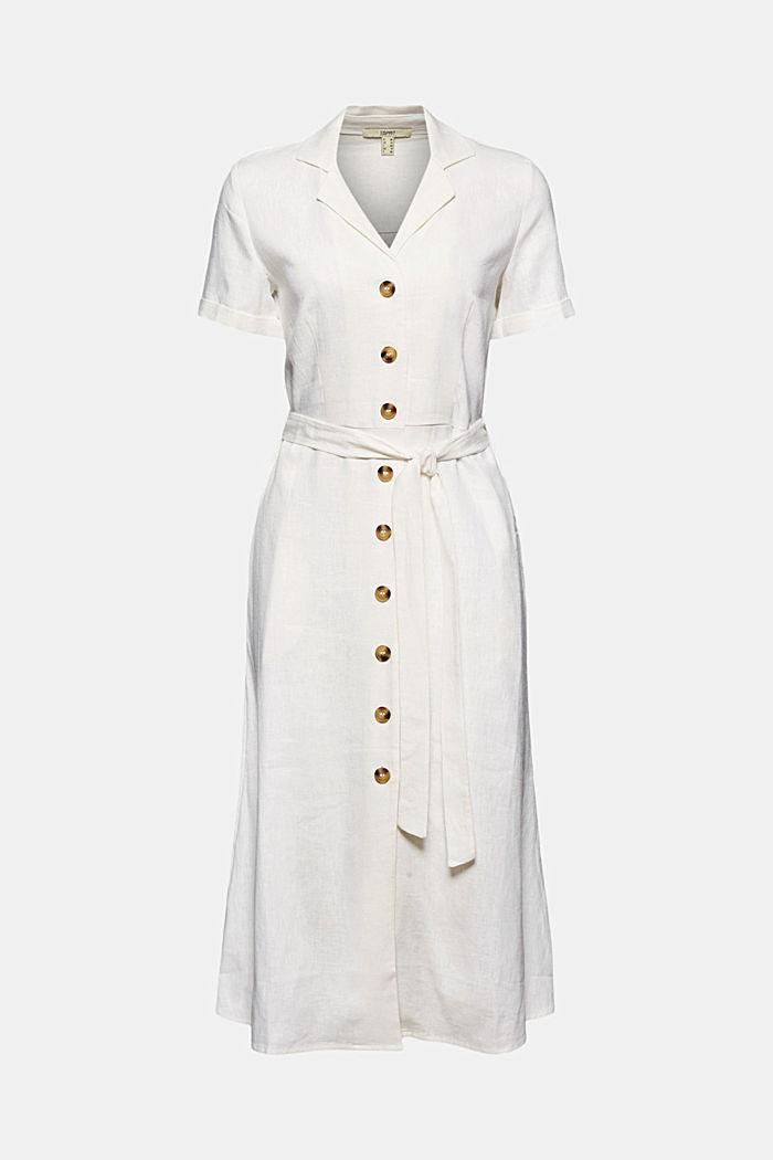 Linen blend: shirt dress with a belt, WHITE, detail image number 6