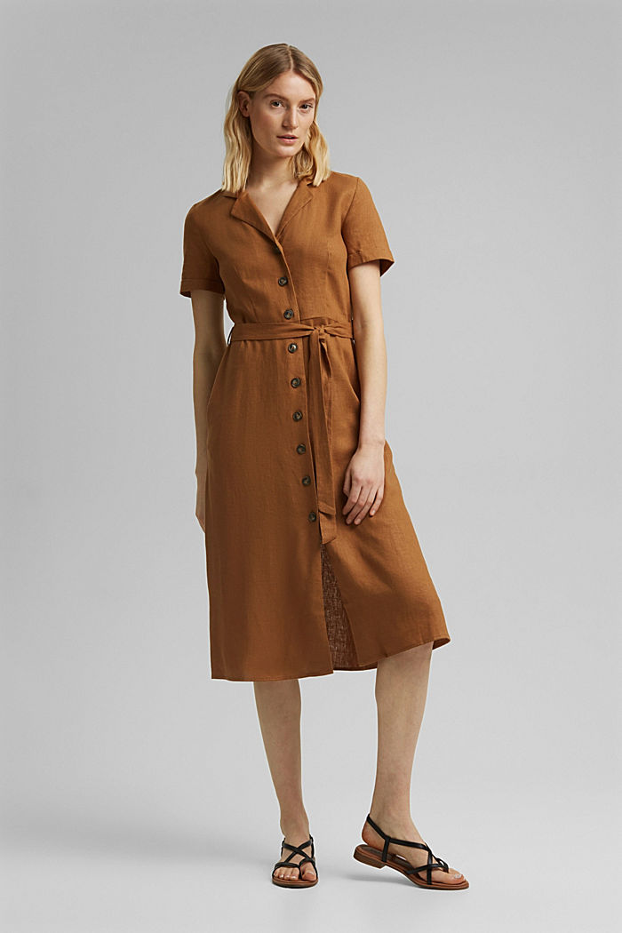 Linen blend: shirt dress with a belt