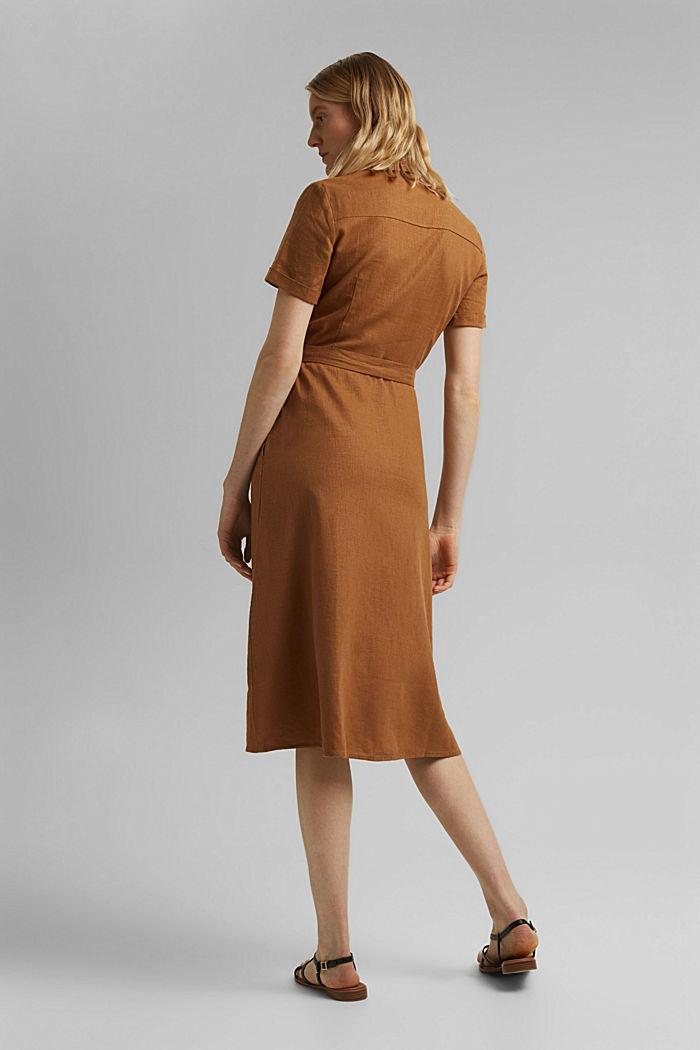Mit Leinen: Hemdblusen-Kleid mit Gürtel, CAMEL, detail image number 2