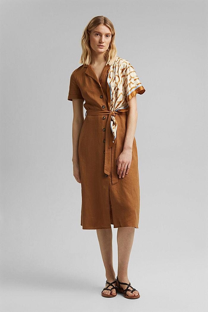 Mit Leinen: Hemdblusen-Kleid mit Gürtel, CAMEL, detail image number 1