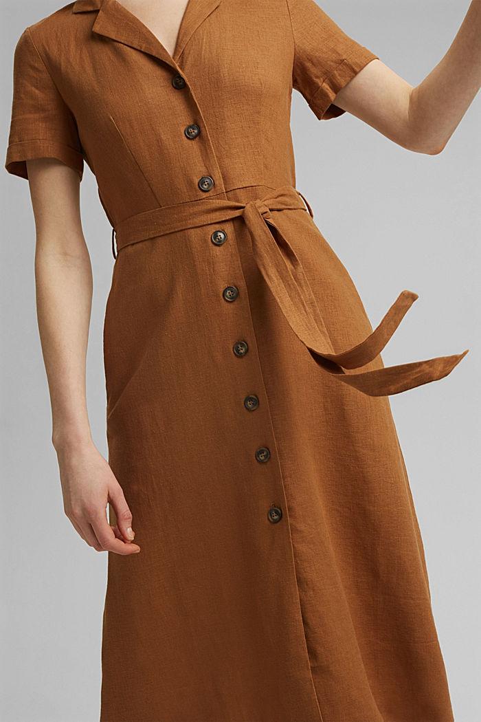 Mit Leinen: Hemdblusen-Kleid mit Gürtel, CAMEL, detail image number 3