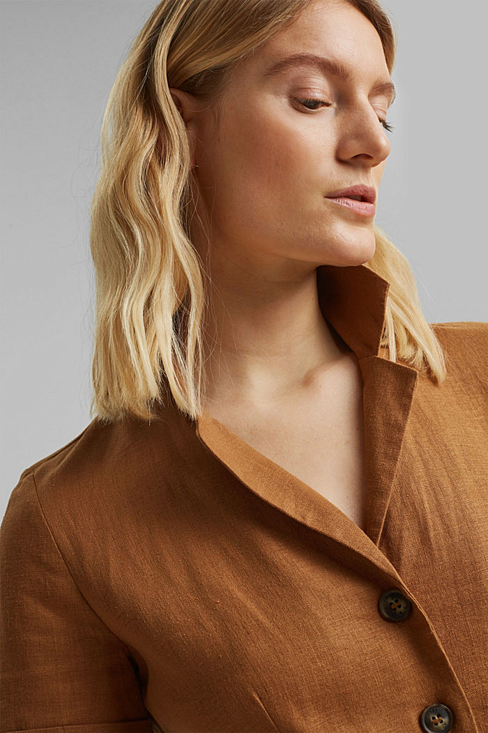 Mit Leinen: Hemdblusen-Kleid mit Gürtel, CAMEL, detail image number 5