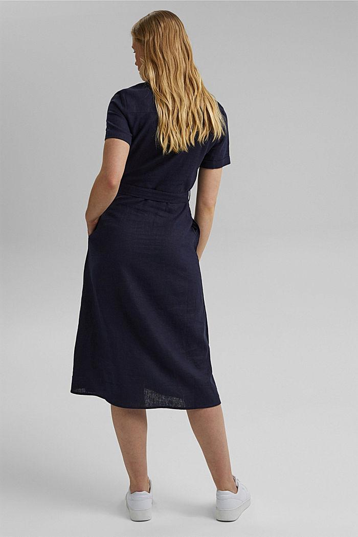 Mit Leinen: Hemdblusen-Kleid mit Gürtel, NAVY, detail image number 2