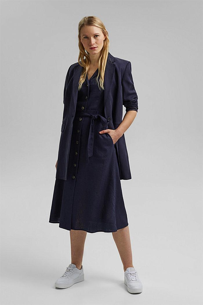 Mit Leinen: Hemdblusen-Kleid mit Gürtel, NAVY, detail image number 1