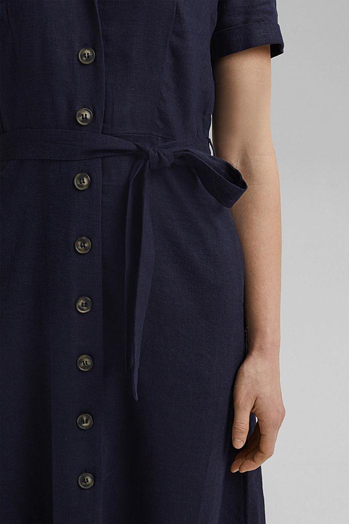 Mit Leinen: Hemdblusen-Kleid mit Gürtel, NAVY, detail image number 3