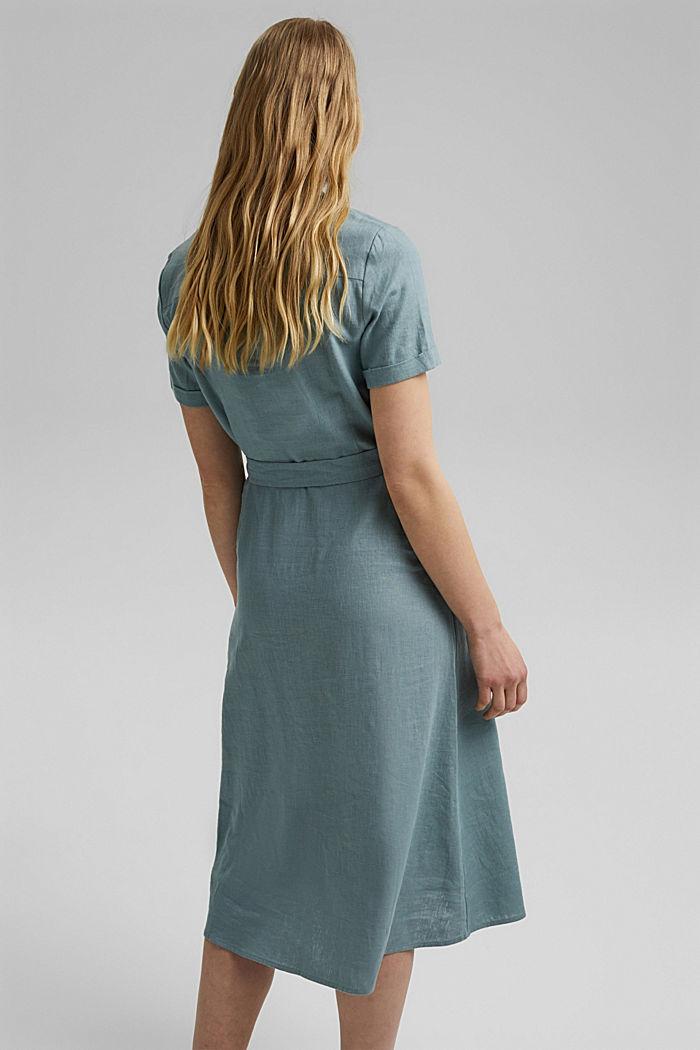 Con lino: vestido camisero con cinturón, TURQUOISE, detail image number 2
