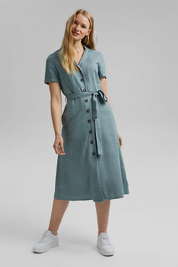 Con lino: vestido camisero con cinturón, TURQUOISE, detail image number 1