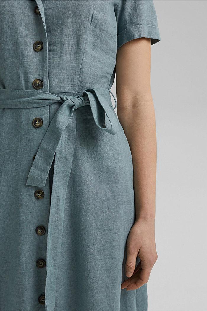Con lino: vestido camisero con cinturón, TURQUOISE, detail image number 3