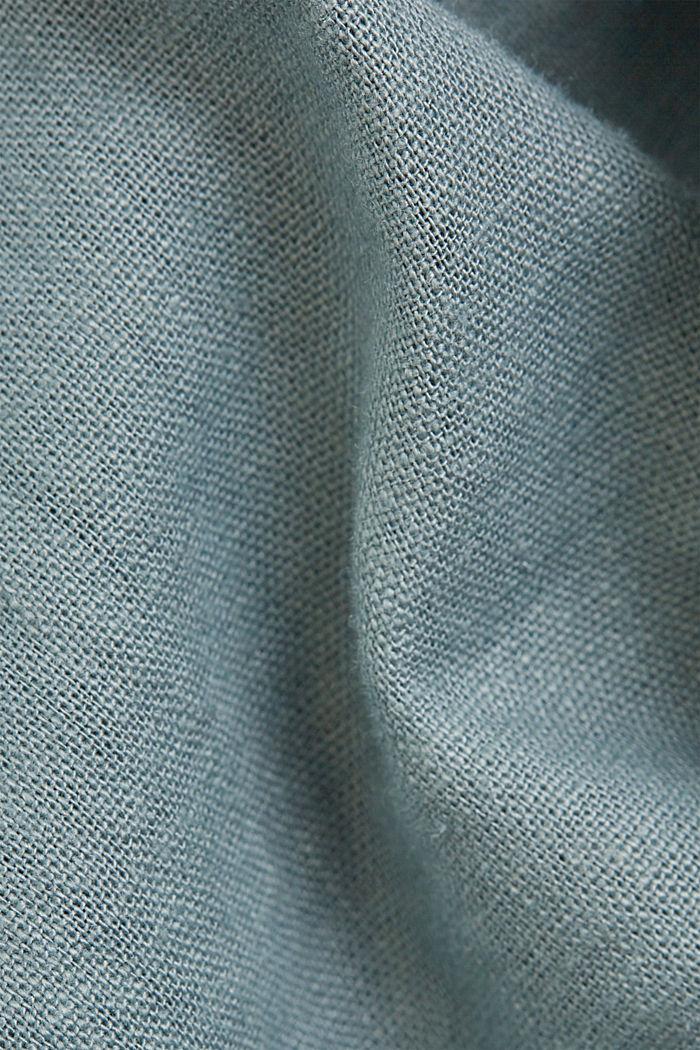 Con lino: vestido camisero con cinturón, TURQUOISE, detail image number 4