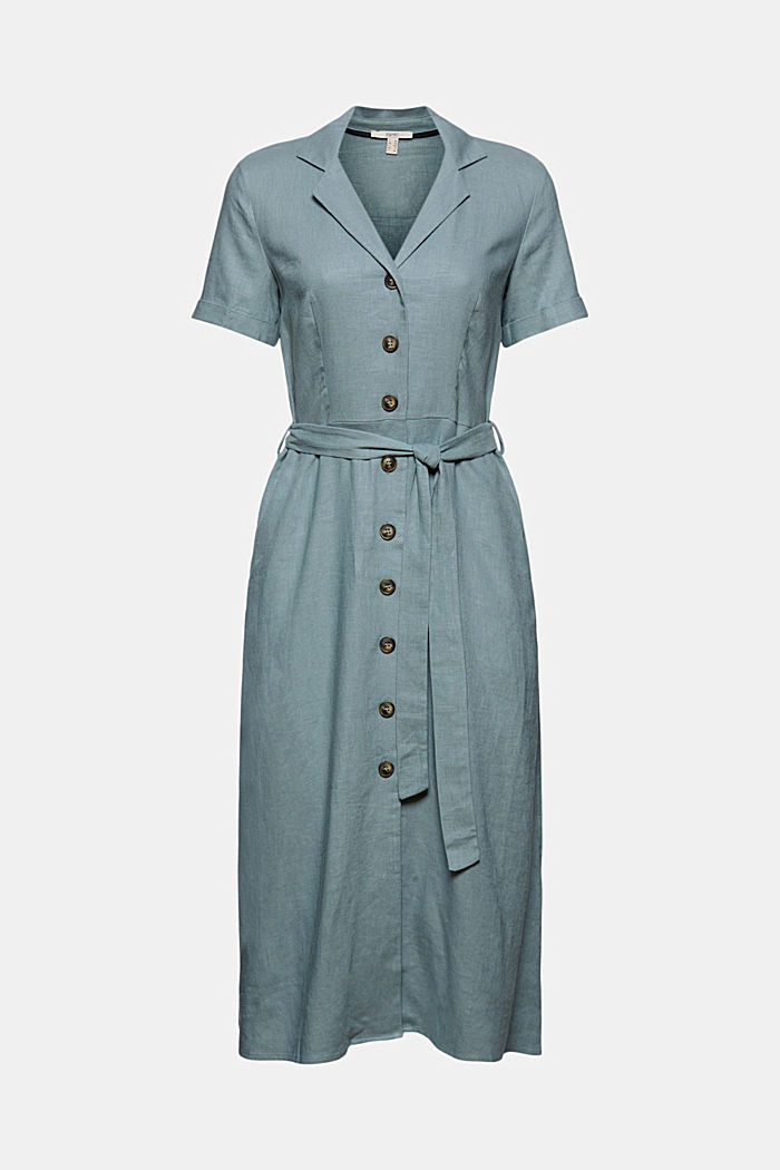 Linen blend: shirt dress with a belt