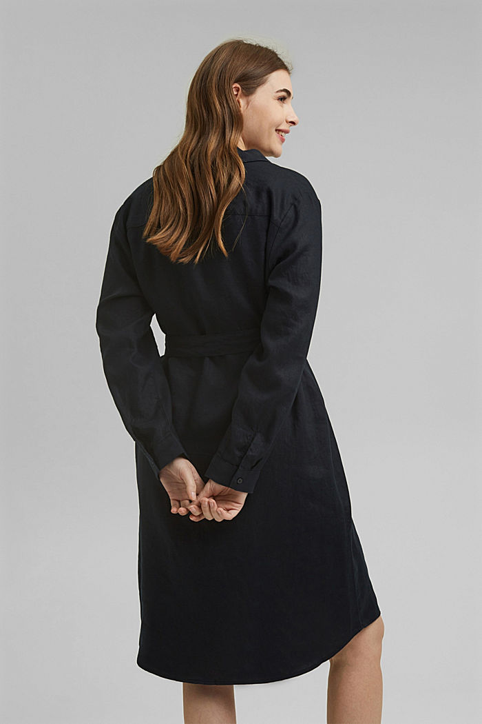 Made of 100% linen: dress with a tie-around belt, BLACK, detail image number 2